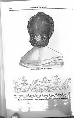 1864, The Lady's Friend. Coiffure a la Ste. Cecile.
