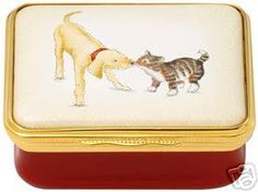 Halcyon Days Dog and Cat Best Friends Enamel Pill Box | eBay