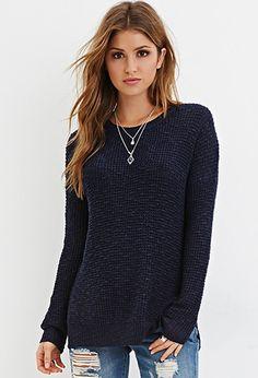 Crochet-Paneled Longline Sweater | Forever 21 - 2000145855