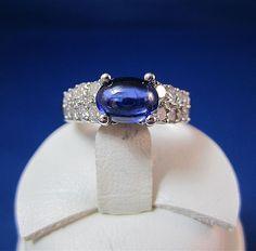Sophisticated 1.50  Carat Sapphire & 1.50 Carat Vintage Diamond Ring
