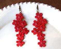 Little Red Flowers Lace Earrings