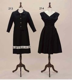 TWO COCKTAIL ENSEMBLES, HARDY AMIES Hardy Amies, Metal Buttons, Cocktails, Bows, Formal Dresses, Skirts, Jackets, Stuff To Buy, Black