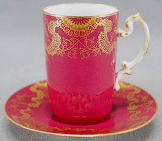 Pouyat Limoges Hand Painted Maroon & Gilt Floral Scrollwork Chocolate Cup B #JeanPouyat