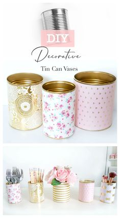 These DIY Decorative Tin Can Vases not only make pretty decor, they're also incredibly practical, easy to make and budget-friendly! Use these vases as a candle holder, flower vase, or container for st Tin Can Crafts, Diy Home Crafts, Jar Crafts, Crafts With Tin Cans, Tin Can Diy Projects, Decor Crafts, Coffee Can Crafts, Diy Home Decor Easy, Diy Home Decor Projects