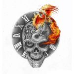 Skull and Phoenix Tattoo Design. You dream it, we draw it. Get started on your custom tattoo design today! :)