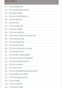 Open When Letter Topics 101 Open When Letter Open When Letter Topics Birthday Gifts For Best Friend, Valentines Day Gifts For Him, Best Friend Gifts, Bf Gifts, Gifts For Your Boyfriend, Grad Gifts, Open When Letters For Boyfriend, Boyfriend Rules, Boyfriend Messages