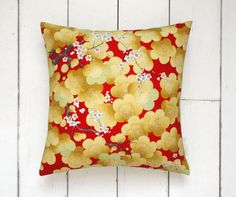 Vintage Kimono fabric silk, cushion, pillow. Cherry blossom. Print. oriental japanese vintage style home decor accessories. Red and gold. Yellow.