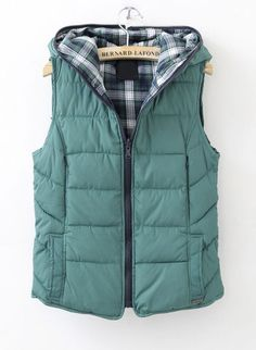 Green Hooded Sleeveless Plaid Reversible Down Vest < I can't stop looking at this vest! I think it may need to come join my closet for this fall/winter! Really love the color.