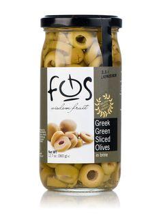 """Sliced natural green olives """"FOS"""" 12.7oz"""
