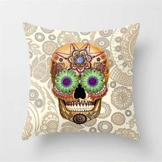 Pillowcase Punk Bohemia Paisley Skull Cushion Cover Cotton Linen Size 40*40 Printed Throw Pillows Decorative Cojines