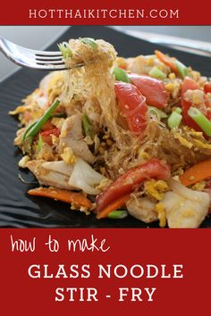 You need to try this delicious noodle recipe! Glass noodle stir fry is a favourite staple dish of many Thai households. Quick, easy, and healthy, the noodles are made from mung beans and can be easily made gluten free.|how to make stir-fry noodles| how to cook Thai food