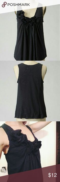 Deletta ruffle tank Adorable dark navy blue tank with ruffle roses across the neckline!  Has a boho unfinished feel to it.  Willing to trade for another deletta top in xs! Anthropologie Tops Tank Tops