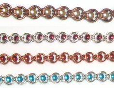 Free Chainmail Patterns Chain Maille   Chain Maille Bracelet With Pearls