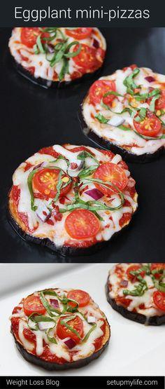 Low Carb Eggplant Pizzas! Healthy Blog http://setupmylife.com/ #lowcarb #eggplant #pizza