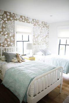 Mint + gold; Kate Hackworth H2Design and Build Anthropologie Block Begonia Wallpaper