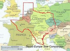 Size comparison of Texas and Western Europe [990 x 722]