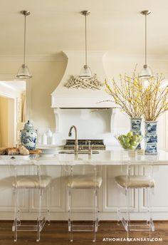 White Kitchen with lucite stools #design #interiordesign