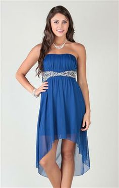 Strapless Dress with Chunky Stone Waist with High Low Skirt- Wish I could see it in another color but LOVE the shape!
