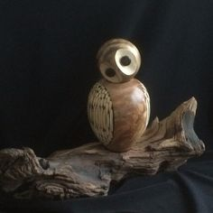 Segmented wood turned owl by M Pringle