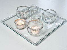 Beaded candle tray with matching tea light holders