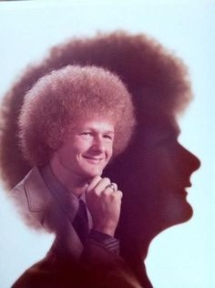 "Afro in an Afro: one of many ""bad glamour shots"" on Ellen's site."