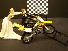 Cake topper.. OMG. I will have one of these on top of my wedding cake. Street bike though lol