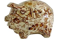 Transferware Piggy Bank, James Kent, Old Foley