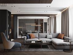 DE&DE/Brutal minimalism on Behance Luxury Homes Interior, Room Interior, Interior Architecture, Living Room Modern, Home Living Room, Living Room Designs, Bedroom Tv Stand, Interior Design Photography, Dark Interiors