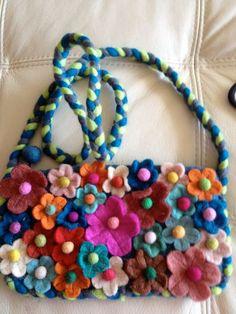 Items Similar To Lana By Sara Molano Felt Wool Purse Handmade Handbag Across Design Art Artist Flowers Garden Pop Ultra Lila Violet On Etsy