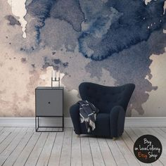 Ink Splatter Navy Wall Mural, Self Adhesive Removable Wallpaper, Vintage  Texture, Splash Wall Art, Vintage Art, Watercolor Wall Mural #15