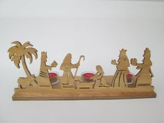 Nativity  tealight stand  christmas decoration  by ScrollOnDesigns