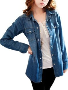Women Point Collar Single Breasted Two Pocket Denim Shirt Dark Blue S uxcell http://www.amazon.com/dp/B00K86F83U/ref=cm_sw_r_pi_dp_aOrjvb1FS2QKD