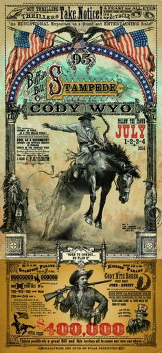 LOVE The Vintage American Flags on this 4th of july Cody Wyoming Cowboy Rodeo Bucking Horse poster! Bob Coronato - Art Prints for Sale