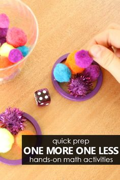 Use these hands-on, easy to prep One More One Less Number Sense Activities to help strengthen these important math concepts in preschool and kindergarten. Number Sense Kindergarten, Number Sense Activities, Hands On Activities, Preschool Activities, Montessori Math, Homeschool Kindergarten, Preschool Math, Fun Math, Montessori Elementary