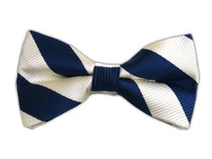 Classic Twill - Navy and Cream (Bow Tie) || BowTie - Classic Twill - Navy/Light Silver (Bow Ties)