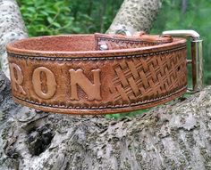 BUILD YOUR OWN - Personalized Western Basket Weave Leather Dog Collar with Roller Buckle