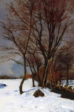 Winter Landscape with Stream - Julian Alden Weir. Winter Landscape With Stream Julian Alden Weir Date: 1888 Style: Tonalism Genre: landscape Media: oil, canvas Landscape Artwork, Landscape Design, Landscaping On A Hill, Driveway Landscaping, Landscaping Ideas, Painting Snow, Winter Painting, Winter Art, Winter Landscape