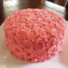 Birthday cake pink cream cheese icing