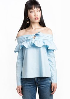 15 off-the-shoulder tops to shop for Spring 2017 | Pixie Market Off-the-Shoulder Tie Knot Top, $78; at Pixie Market  Read more: http://stylecaster.com/cold-shoulder-tops/#ixzz4ev49lW4x