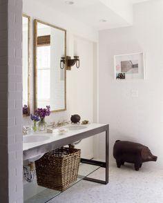 master bath floor  Nate Berkus Design - bathrooms - mirrors, sinks, pig, gilt, gray, white, bathroom,  Clean minimal white bathroom!  Double sink vanity with large