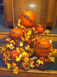 Fall Harvest Right Into Thanksgiving Home Decor @ Autumn Harvest Blessings Pumpkin Decoration From . Home and Family Diy Christmas Decorations, Fall Church Decorations, Harvest Party Decorations, Decoration Table, Thanksgiving Decorations, Happy Thanksgiving, Church Ideas, Fall Festival Decorations, Homecoming Decorations