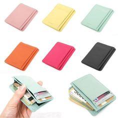 Leather Mini Slim Wallet Women Useful Card Wallets Small Purse Business Card | eBay
