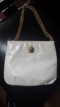 Vintage 70's White Leather  Ruth Saltz Gold Tiger Head Chain Strap Shoulder Bag Clutch on Etsy, $35.00