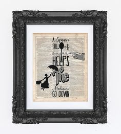 Mary Poppins Quote, Art Print, Dictionary Art Print, Prints on Dictionary, Disney Print, Disney Art, Silhouette, Disney Quote, Quote Print