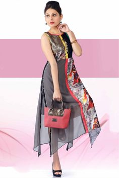 Georgette Printed Party Wear Kurti in Grey Colour...