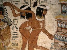 Ägyptische Malerei - Bankettszene aus Grab des Nebamun /Ägypt                                                                                                                                                                                 Mehr