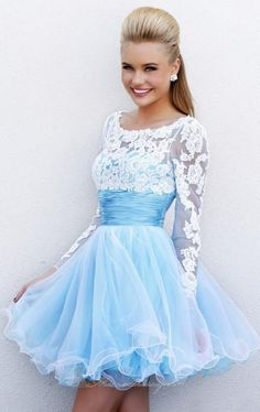 MZ0040 Backless A-Line Lace Tulle Long Sleeves Short Mini Sex Homecoming Dresses 2014 Free Shipping $122.39