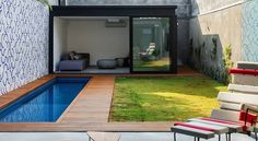 Exciting Small Swimming Pool House Design Inspiration Performing Modern Lap Pool Form Selection With Hardwood Pool Decking Mixed With Comfy Living Place Ideas. 23 Sensible ideas to build Swimming Pool House Design Swimming Pool House, Small Swimming Pools, Small Backyard Pools, Small Pools, Swimming Pool Designs, Small Patio, Lap Pools, Small Terrace, Outdoor Pool