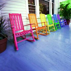 SO many things about this pic bring a smile to my face. The color. The fun of a rocking chair. The fact that this pic was taken in the Florida Keys. Taste The Rainbow, Over The Rainbow, Deco Surf, Outdoor Chairs, Outdoor Decor, Porch Chairs, Wood Chairs, Wicker Chairs, Garden Chairs