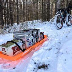 When Pulk testing turns into trail grooming the result is WINNING! Fat Bike, Sled, Trail, Lead Sled, Luge, All Terrain Bike